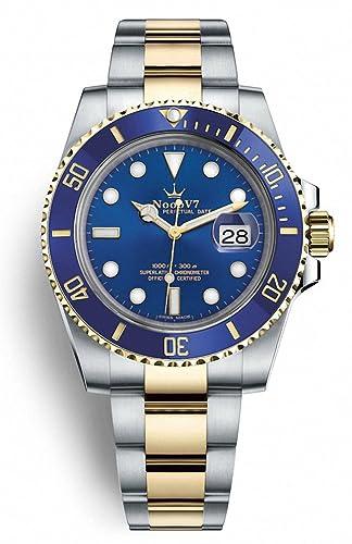 Reloj suizo con corona y fecha de sub de lujo, de alta gama, de acero inoxidable, con zafiro: Amazon.es: Relojes