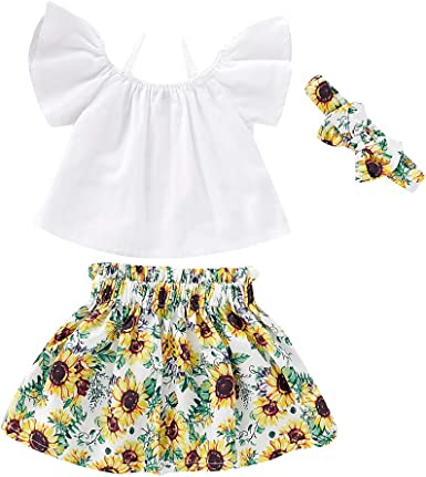 Toddler Girls Off Shoulder Ruffle Tops+Floral Skirt+Headband Outfit Clothes Set