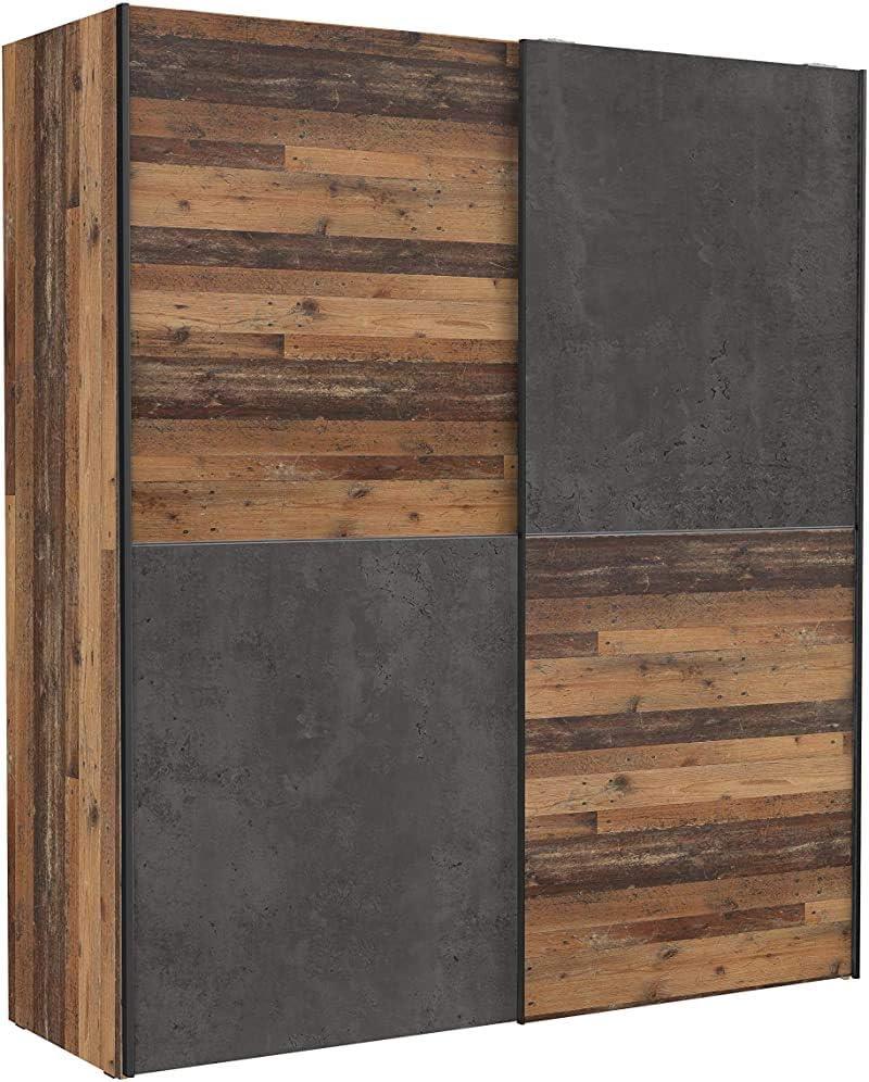Retro armario de madera, junto con la aparición concreta de suficiente espacio de almacenamiento, dos correderas armario de pista, propicio para el dormitorio,Brown