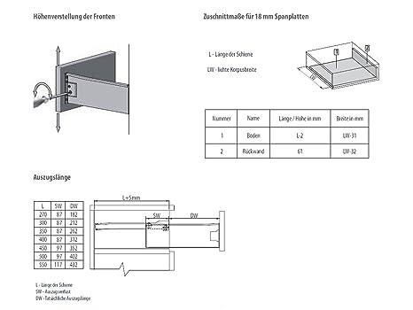 Schubladensystem MetallBox Zargenh/öhe 500 mm cremewei/ß Schublade Schubkasten von SO-TECH 86 mm//Nennl/änge