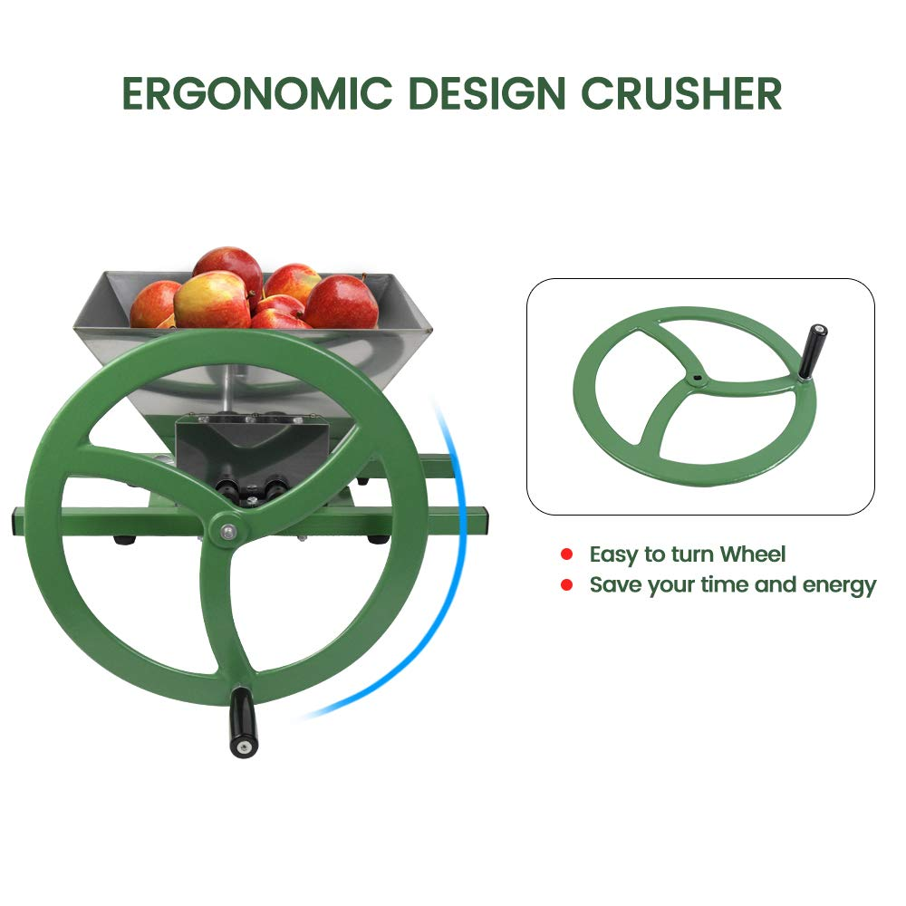 Fruit and Apple Crusher - 7L Stainless Steel Manual Juicer Grinder, Fruit Scratter Pulper for Wine and Cider Pressing by EJWOX