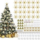 Outgeek - Juego de decoración para árbol de Navidad, 96 unidades, adornos para árbol de Navidad, flores con purpurina, adornos colgantes con 24 clips