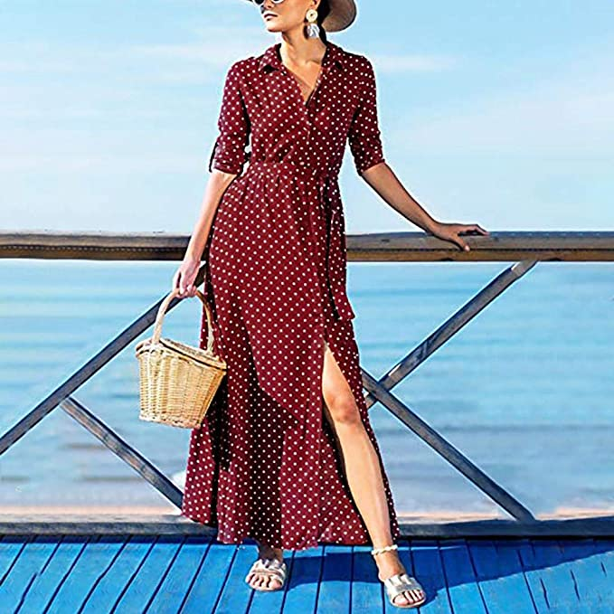 Ciyoon Women Long Sleeve Dress Sash Dot Print Beach Casual Ankle-Length at Amazon Womens Clothing store: