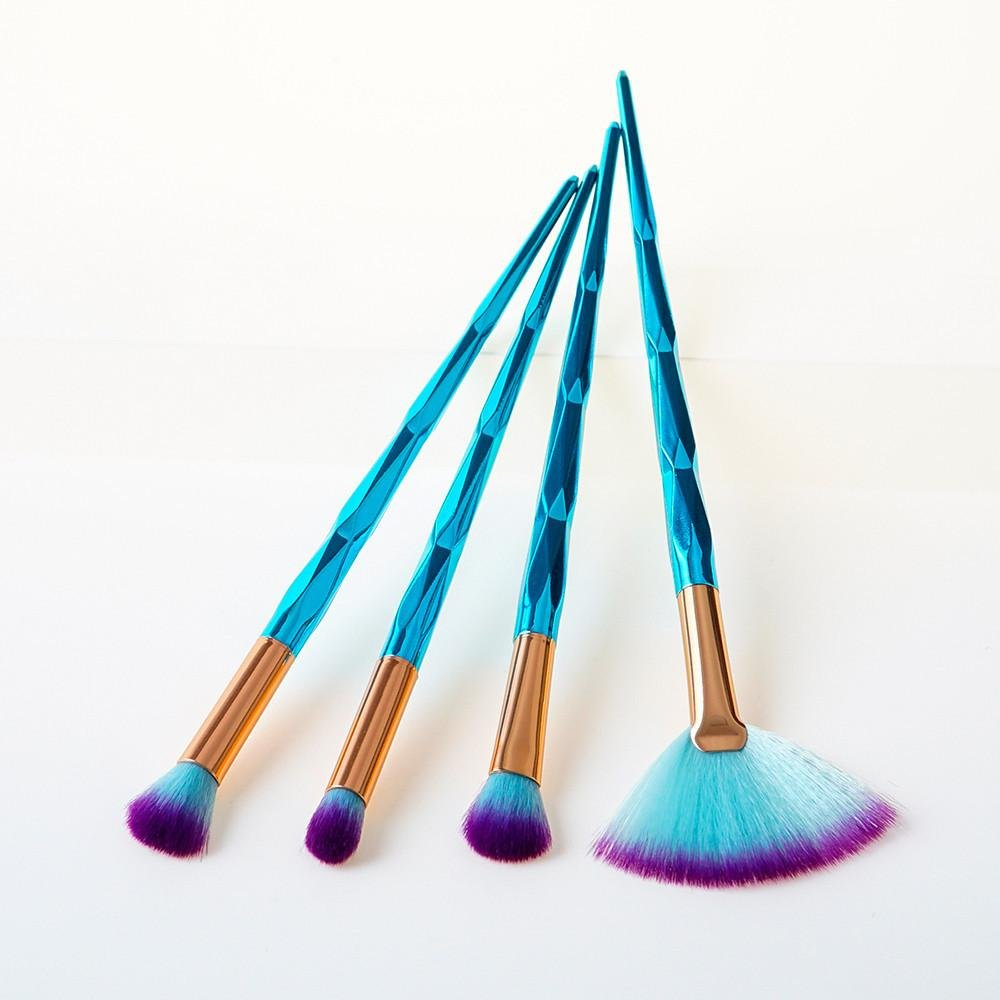 Naladoo Naked Kit De Pinceis De Pinceaux Maquillage, 4Pcs GUJHUI Blue Bamboo Style Cosmetic Eyebrow Eyeshadow Brush Makeup Brush Sets Tools Beauty Tool