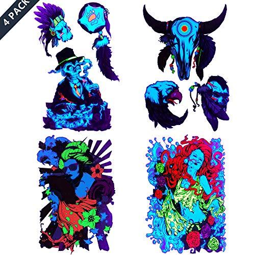 Japanese-Geisha Temporary-Tattoos Flashy Art-Sticker for Women Death creepey Skull Tattoos,Dark Skull Tattoos -