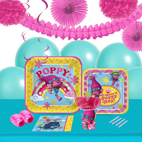 BirthdayExpress Trolls Party Supplies - Tableware and Decoration Party Pack for 16 Guests ()