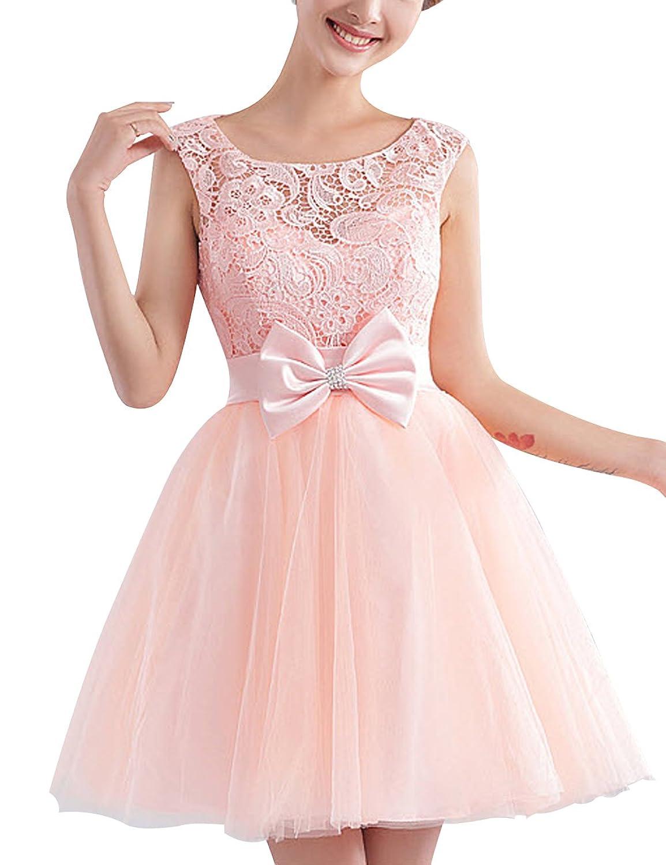 Felala short lace prom dress (36, PINK)