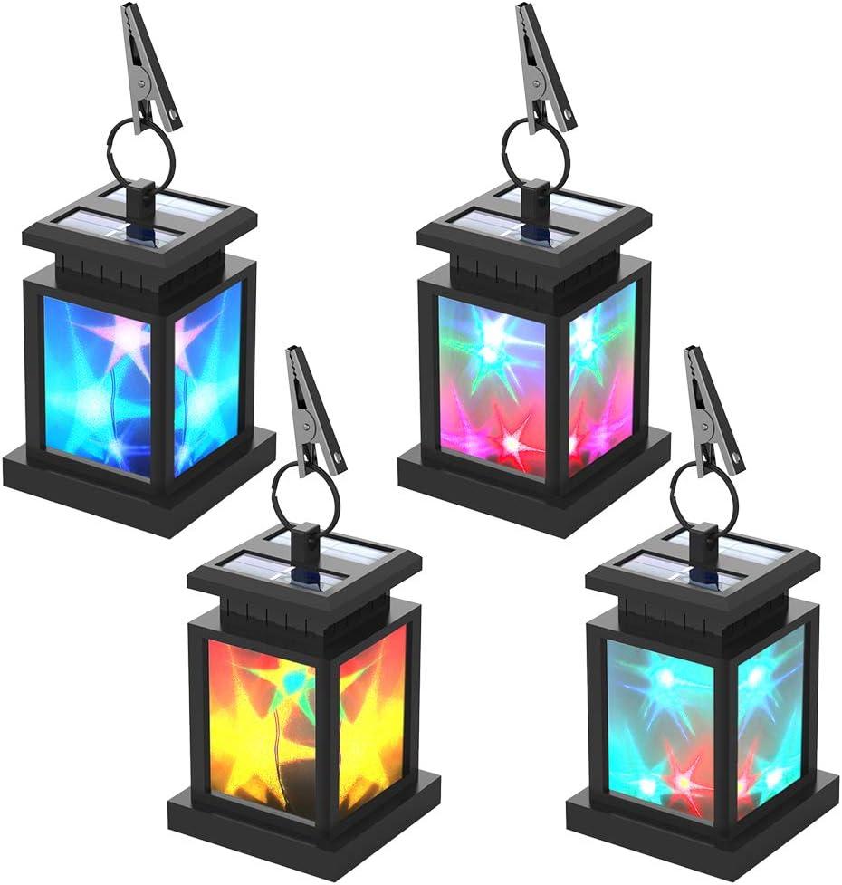 Faroles Solares Exteriores Luces Decorativas, Lámparas Solares Color Cambiante Estrella Parpadeo, Brillante y Oscuro Inducción Automatico Encendido/Apagado, Crear un Ambiente Romántico 4 piezas