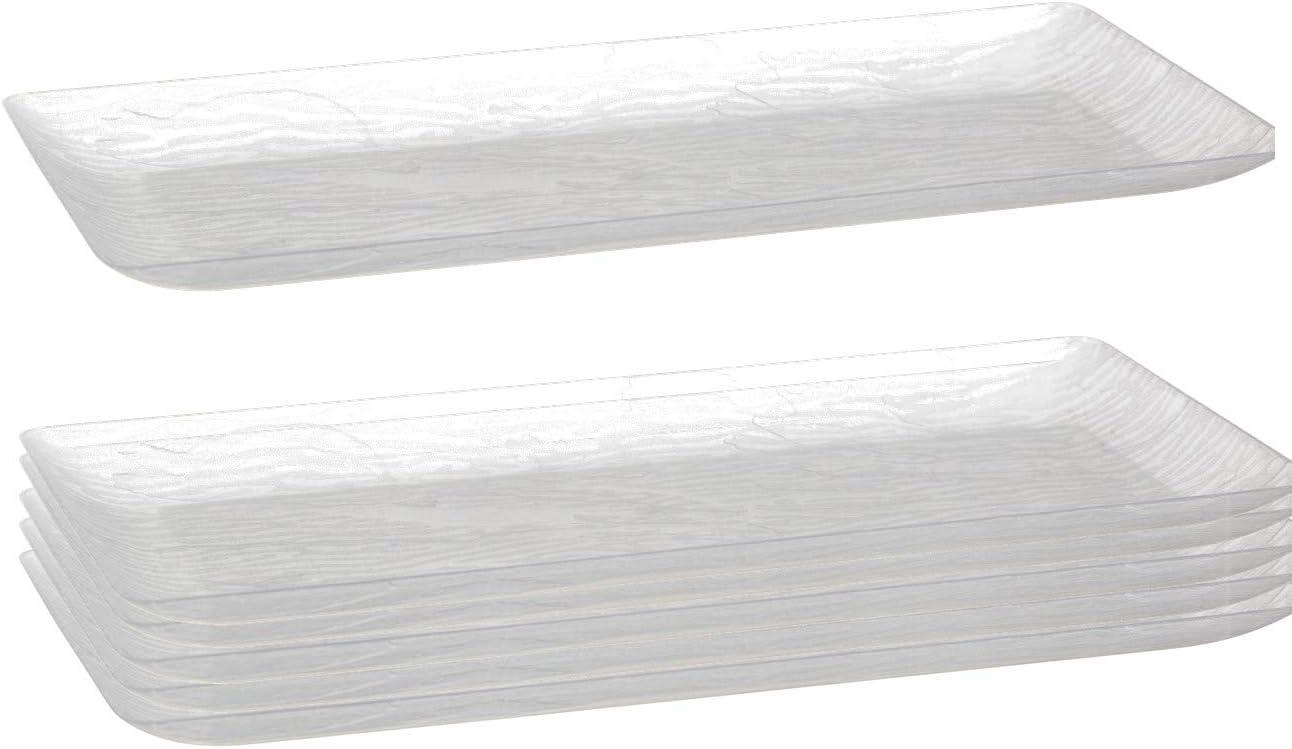 Posh Setting Clear Plastic Serving Trays, Wood Grain Pattern Party Platters, Disposable Premium Plastic, 14