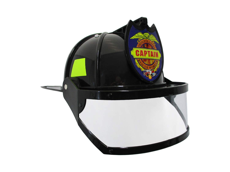 Nicky Bigs Novelties Fire Chief Plastic Helmet with Folding Visor Costume, Black/Yellow, One Size by Nicky Bigs Novelties