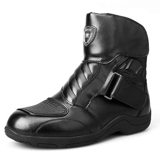 Botas para Moto Hunter de Piel Impermeable Color Negro Oxford