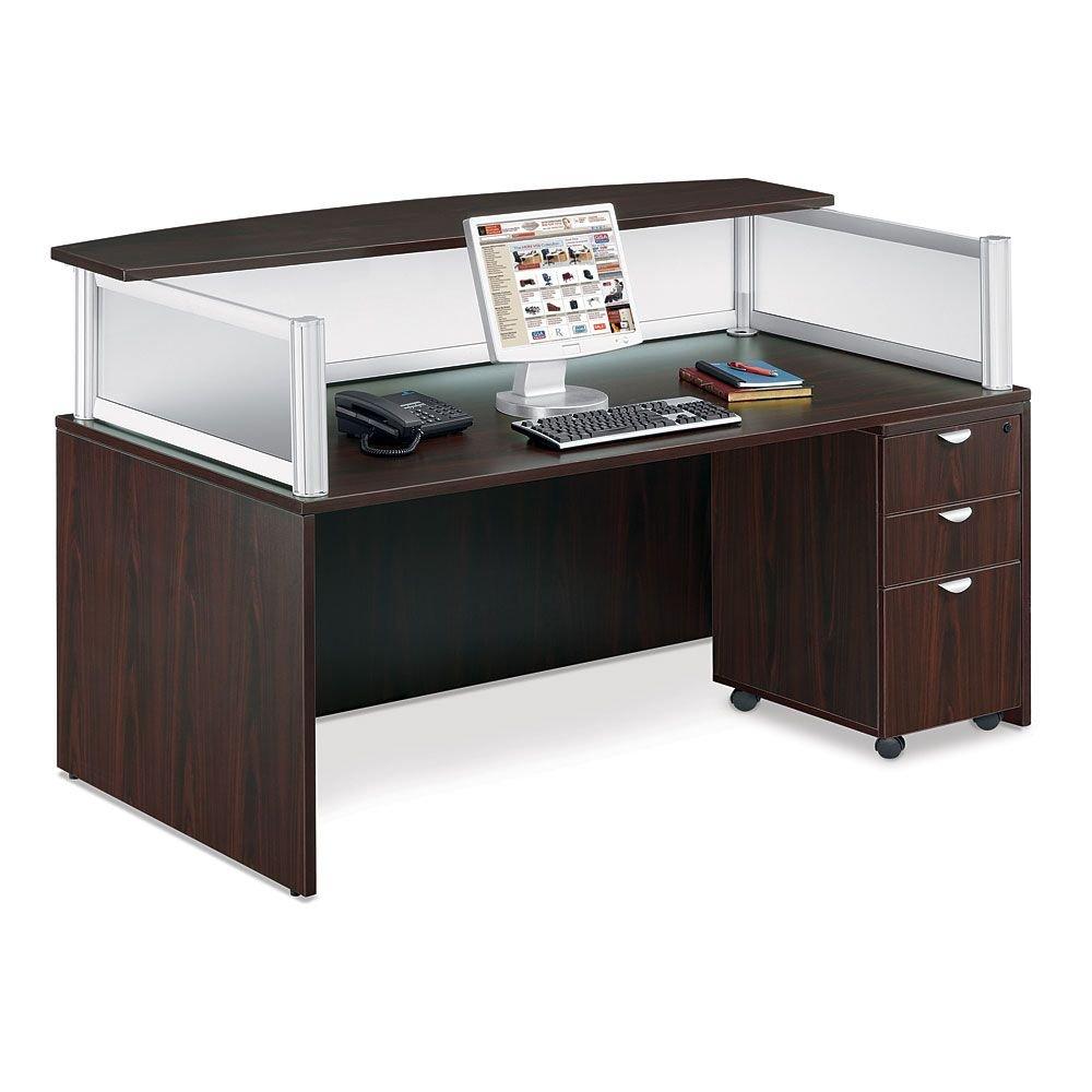 Contemporary Reception Desk w/Mobile Pedestal - 71''W Mocha Laminate/Frosted Plexi Dimensions: 71''W x 36''D x 43.5''H Weight: 296 lbs.Reception Desk Mobile Pedestal
