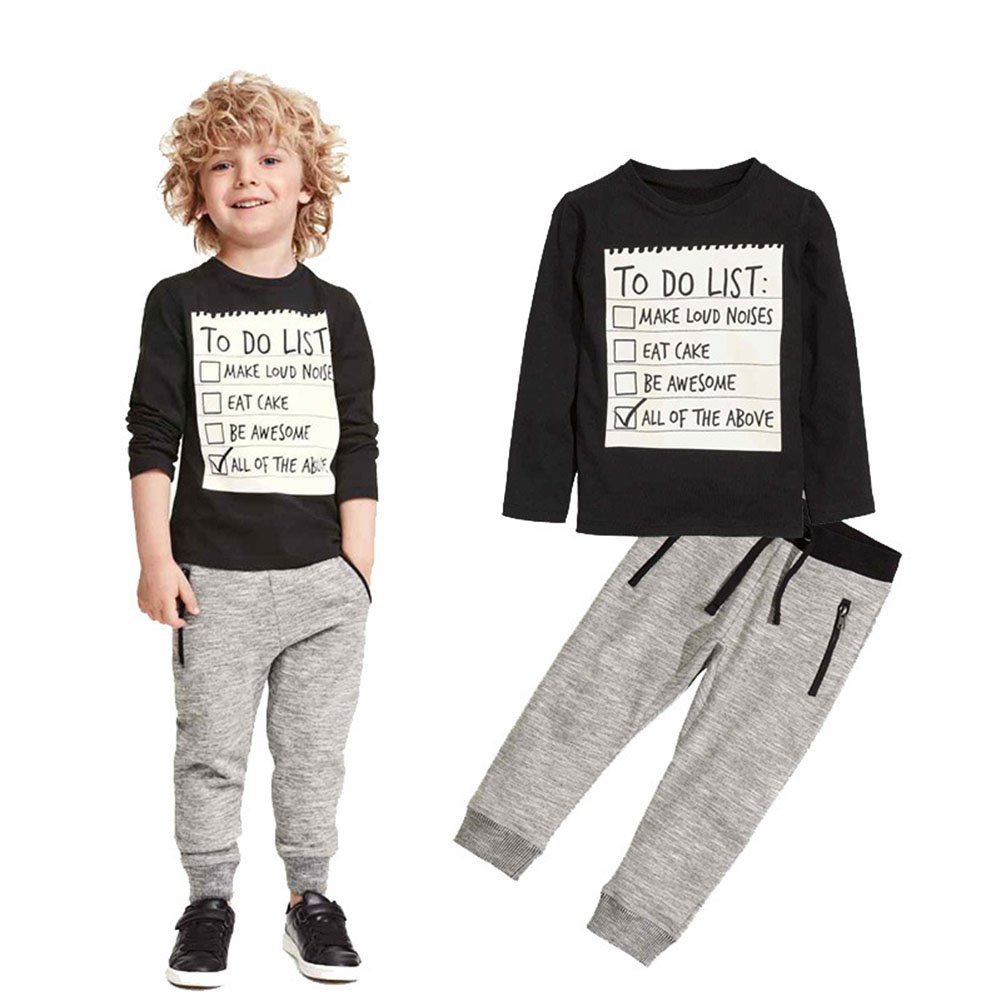 Jobakids Boys 2 Pieces Set Boys Cotton Clothing Set(Black,5T)