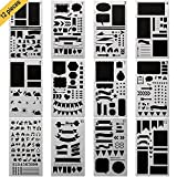 quilt diary - GP Life Bullet Journal Stencil Set, Plastic Drawing Journal Planner for Notebook Diary Scrapbook Craft Projects, Set of 12 Pieces-4×7 Inch