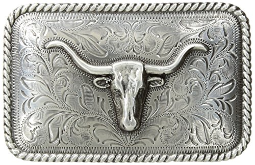 Nocona Men's Rounded Square Steer Buckle, silver, One (Rounded Square Buckle Belt)
