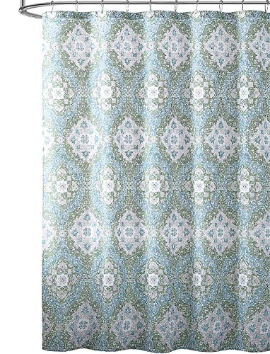 VCNY Home Blue Green Gray White Fabric Shower Curtain: Distressed Floral Damask Style (White Shower Blue Curtain Green)