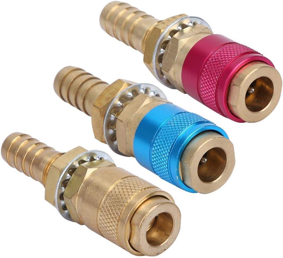 Amarillo Azul Adaptador de conector r/ápido de enfriamiento de agua y gas para la antorcha de soldadura TIG Zerone 3 unids M10 Rojo