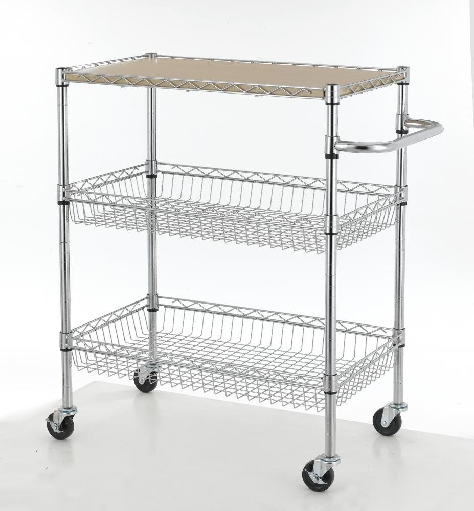 Chrome 3-Tier Wire Rolling Kitchen Cart Utility Food Service ...