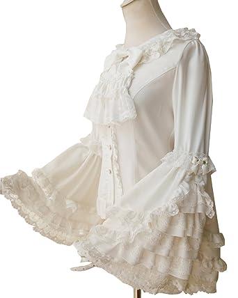 Amazon Cnstone ロリータ ブラウス シャツ 姫袖 長袖 丸襟 リボン