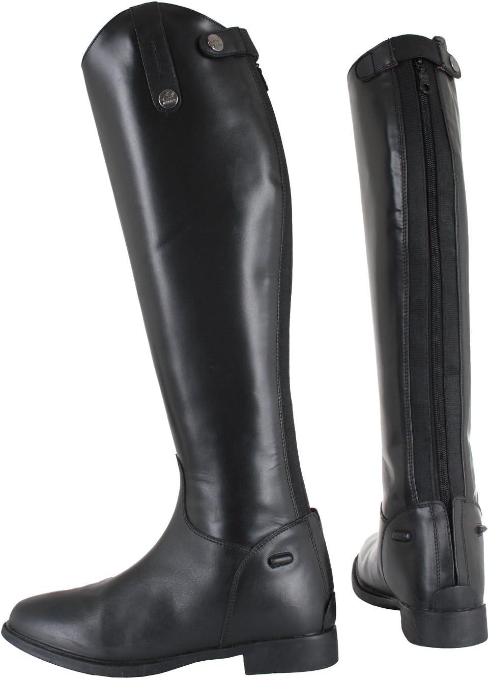 Horka largo botas de montar a caballo mostrando competencia/extra ancho/ancho/estándar de la pantorrilla, negro, 44EU Extra Wide Calf