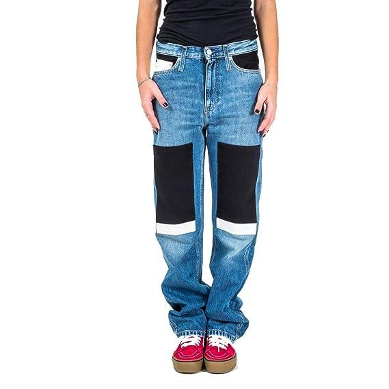 new concept e1129 a9df4 Calvin Klein CKJ 030 HIGH Rise Pantalone Jeans Donna: Amazon ...