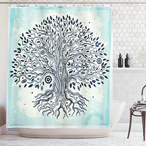 Ambesonne Abstract Art Bathroom Shower Curtain with Trees Decoration Tree of Life Chinese Bonsai Roots Bohemian Hippie Evil Eye Beads for Home Decor Polyester Fabric, Indigo Cream