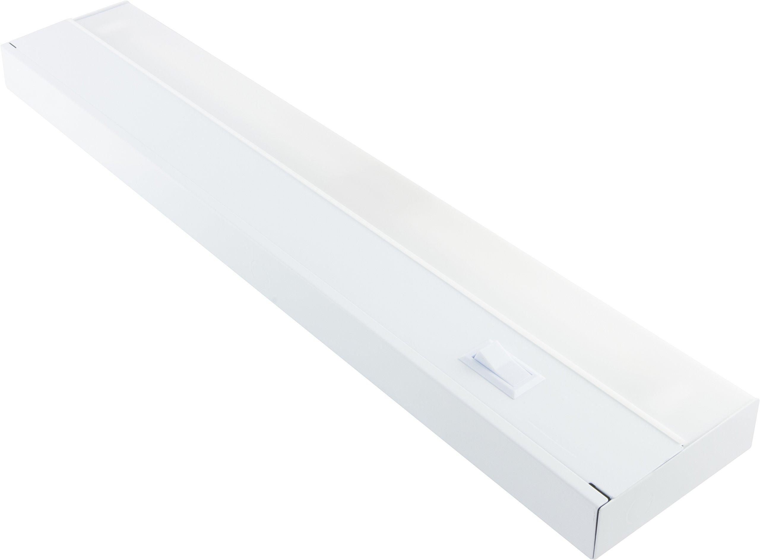 GE Premium 48 Inch Fluorescent Under Cabinet Light Fixture, Direct Wire, Warm White, Steel Housing, On/Off Switch, No Hum, Flicker Free, Ideal for Kitchen, Office, Garage, Workbench and more, 10143