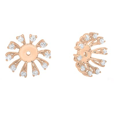 21958fc90a73d 0.30 Carat (ctw) 14K Gold Round Diamond Removable Jackets For Stud Earrings  1/3 CT