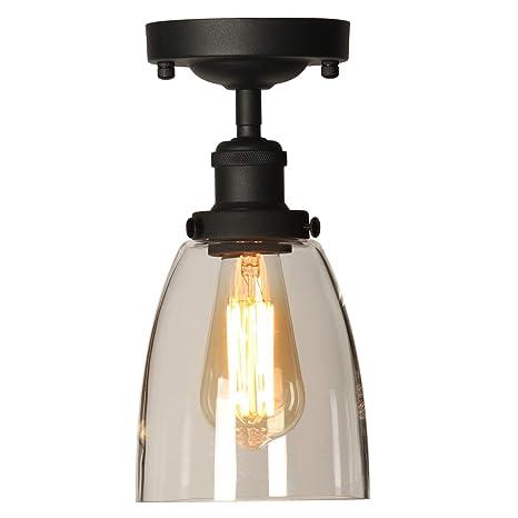 Industrial Vintage Semi Flush Mount Ceiling Light Fixtures Tangshi Edison Style Metal Glass Hanging Lights Farmhouse Lighting Clear Glass Pendant