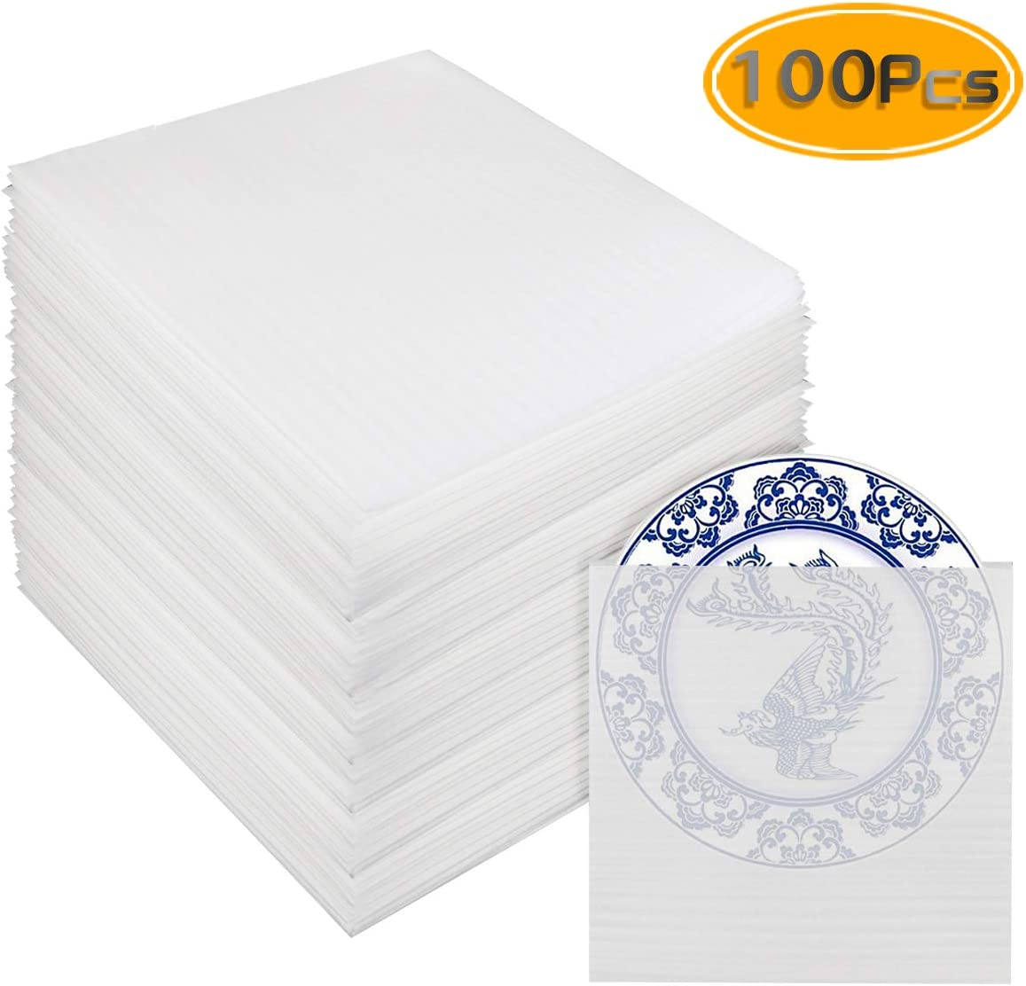 Porcelain /& Fragile Items,Moving Storage Packing and Shipping Supplies Glasses UPlama 100PCS Foam Wraps,Foam Wrap Cup Pouches 12 x 12.2,0.5mm Thick,Foam Wrap Sheets Cushioning for Protect Dishes