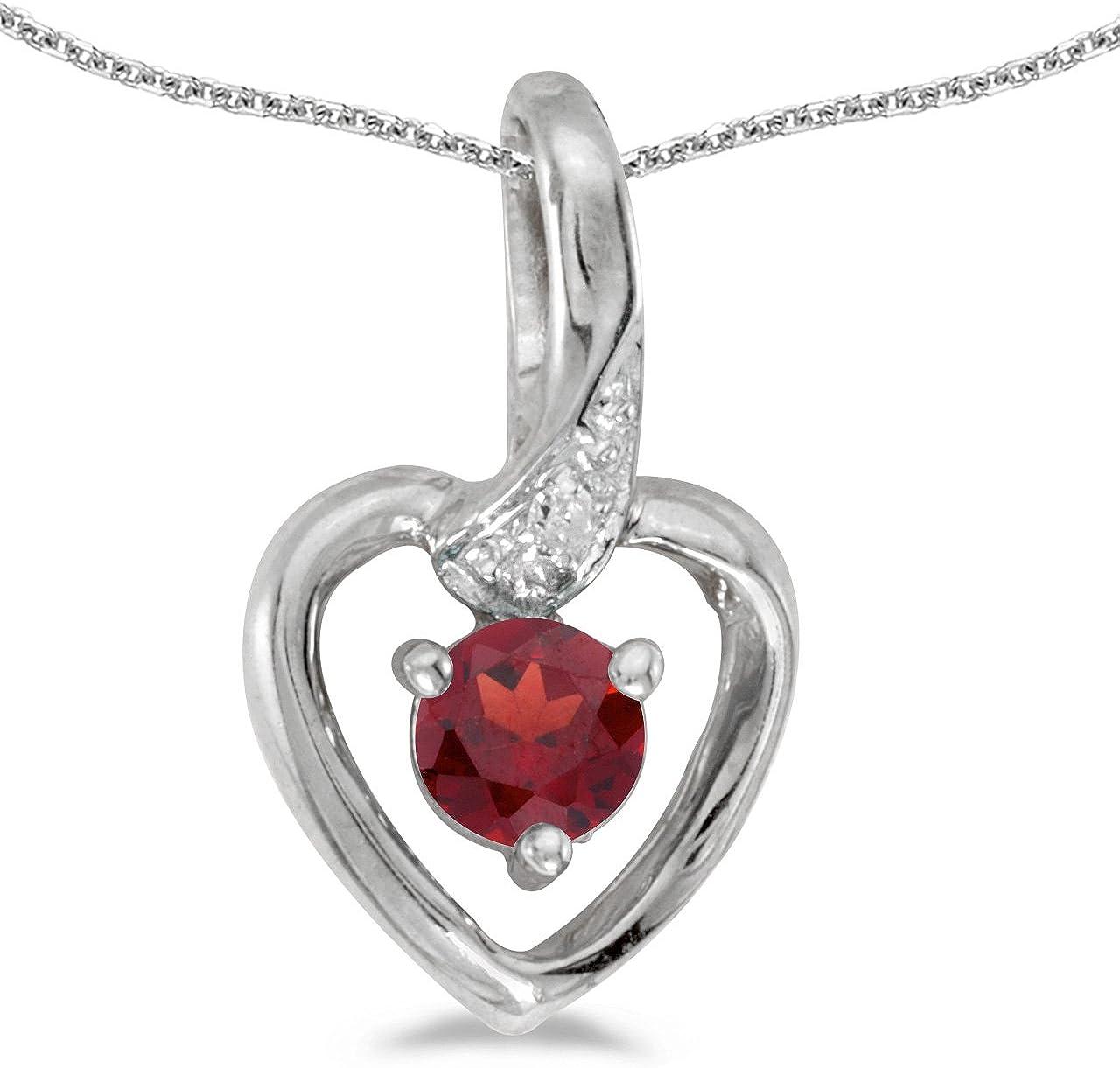 0.28 Cttw. Jewels By Lux 10k White Gold Genuine Birthstone Round Gemstone And Diamond Heart Pendant