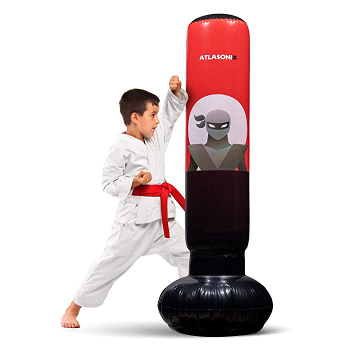 """Inflatable Kids Punching Bag – Free Standing Ninja Boxing Bag for Immediate Bounce-Back for Practicing Karate, Taekwondo, MMA and to Relieve Pent Up Energy in Kids and Adults/Tall 5' 3"""""""