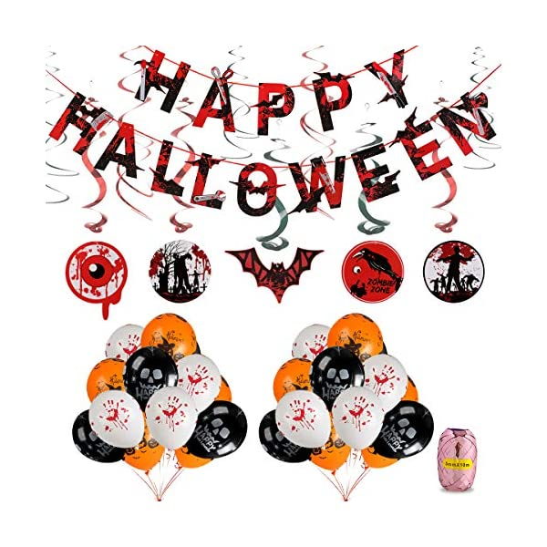 Halloween balloon decorations Glow In Dark Halloween Balloons Decorations Kit Happy Halloween Bannerhalloween Creepy Creatures Hanging Swirl Ceiling Decorations12 Inch Pumpkin Skull And Bloody Dresslilycom Halloween Balloons Decorations Kit Happy Halloween Banner
