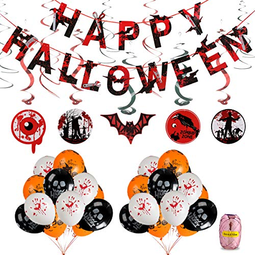 Halloween Party Balloons Decorations Kit - Happy Halloween Banner,Halloween Creepy Creatures Hanging Swirl Ceiling Decorations,12 Inch Pumpkin, Skull and Bloody Hand Latex Balloons -35 Ct