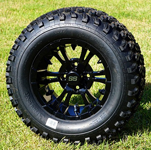 12″ Vampire Gloss Black Aluminum Wheels and 23X10.5-12 All Terrain Tires Combo – Set of 4