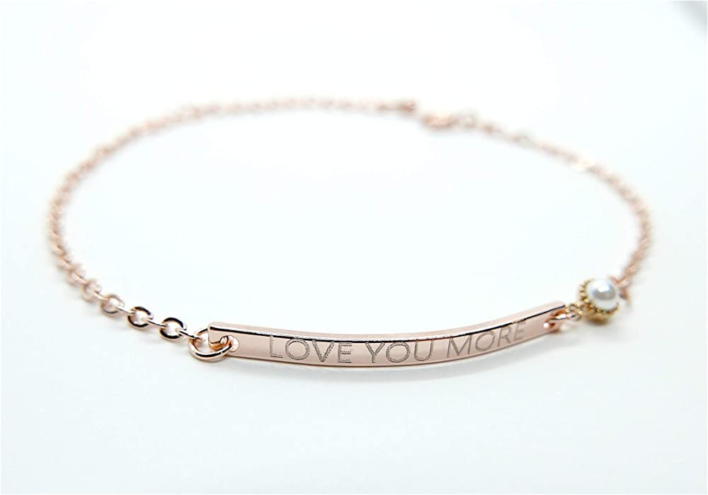 Pulsar Personalized Dainty Bracelet with a Tiny Pearl Connector for Women Birthday Mothers Day Bridesmaid Graduation Friendship Gifts Engraved Super Delicate Layered Bracelet Jewelry Gift