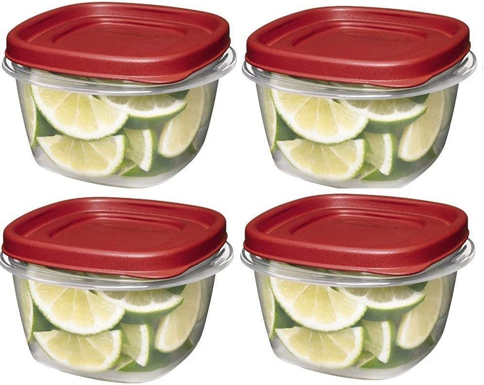 Rubbermaid 7J60 608866902607 Easy Find Lids Square 2-Cup Food Storage Container (Pack of 4), Red
