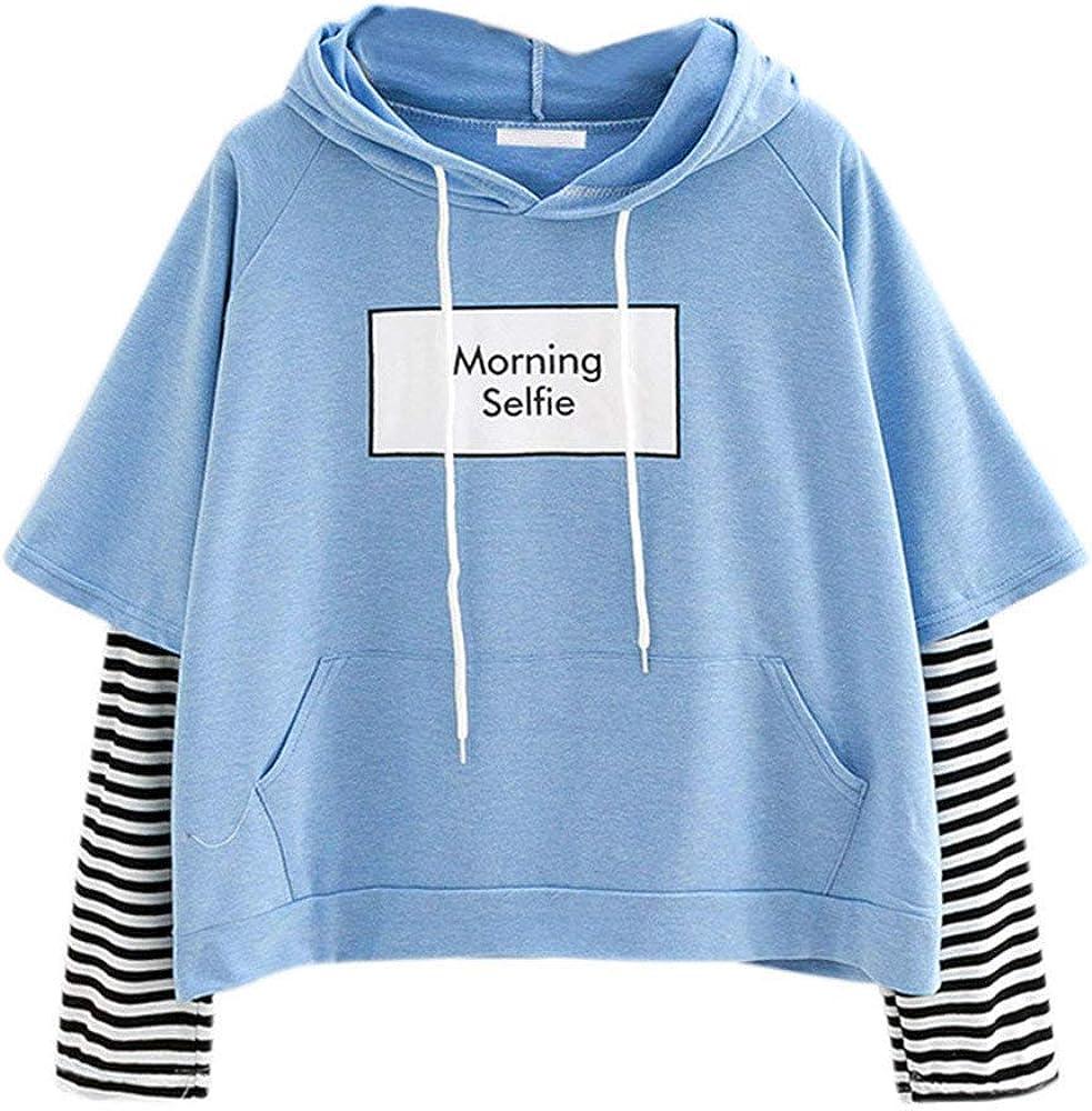 Sudadera con Capucha Cortas para Mujer Sudadera Adolescentes Chicas Patchwork Estampado Raya Blusa Tops Camiseta de Manga Larga Hoodie Pullover Otoño e Invierno riou