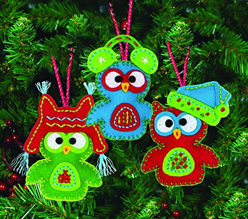 UPC 088677082697, Dimensions Crafts 72-08269 Needlecraft Whimsical Owl Ornaments in Felt Applique, 4-1/2-Inch, Set of 3