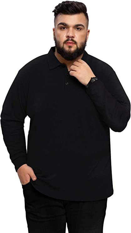 model wears big and tall black polo