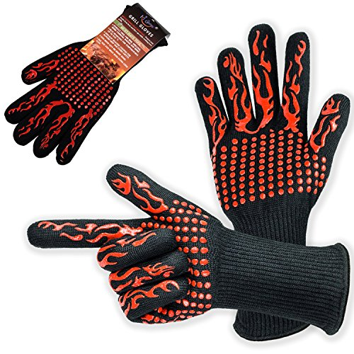 (KI Store BBQ Gloves Extreme Heat Resistant 932°F Grill Gloves Long Sleeves Washable Barbecue Oven Mitts for Kitchen Grilling Hand Protection)