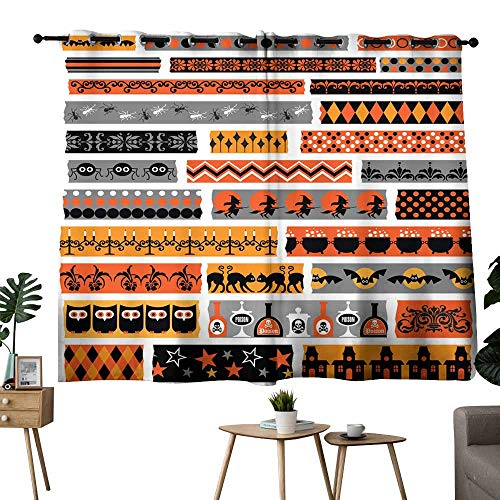 Mannwarehouse Polyester Curtain Halloween Clipart washi Tape Suitable for Bedroom Living Room Study, etc.63 Wx45 L]()