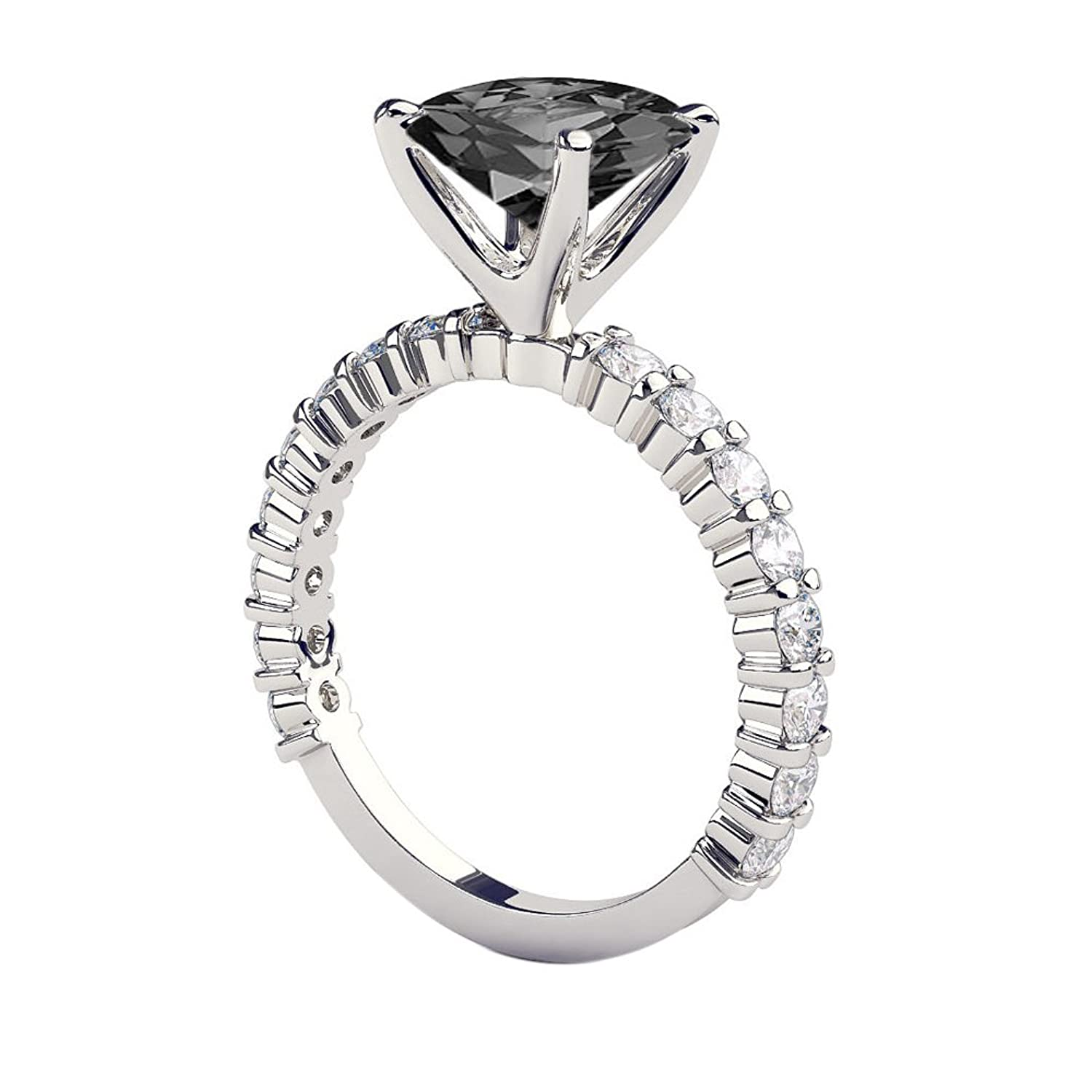 Black Diamond Ring 14K White Gold Princess Cut Solitaire With Accents Designer