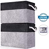 Linen Storage Baskets Boxes Containers Cube Bin Organizers Collapsible[2Pack],Grey Black Foldable Fabric Storage Basket Sets with Cotton Rope Handles Shelf Closet Organizer for Nursery Toys,Kids Room,