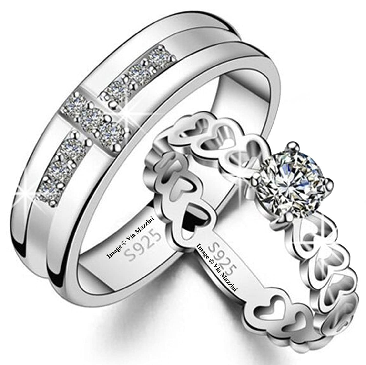 Via Mazzini 925 Silver Plated Love Birds Crystal Couple Rings For