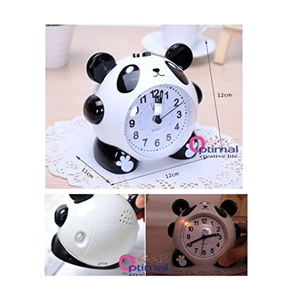 Kangkang@ Animal Creative Panda Small Night-light Alarm Clock with Loud Alarm(Round,Black) by Kangkang (Image #2)