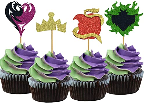 Set of 12 Disney Descendants Cupcake Toppers Picks for Birthday Party