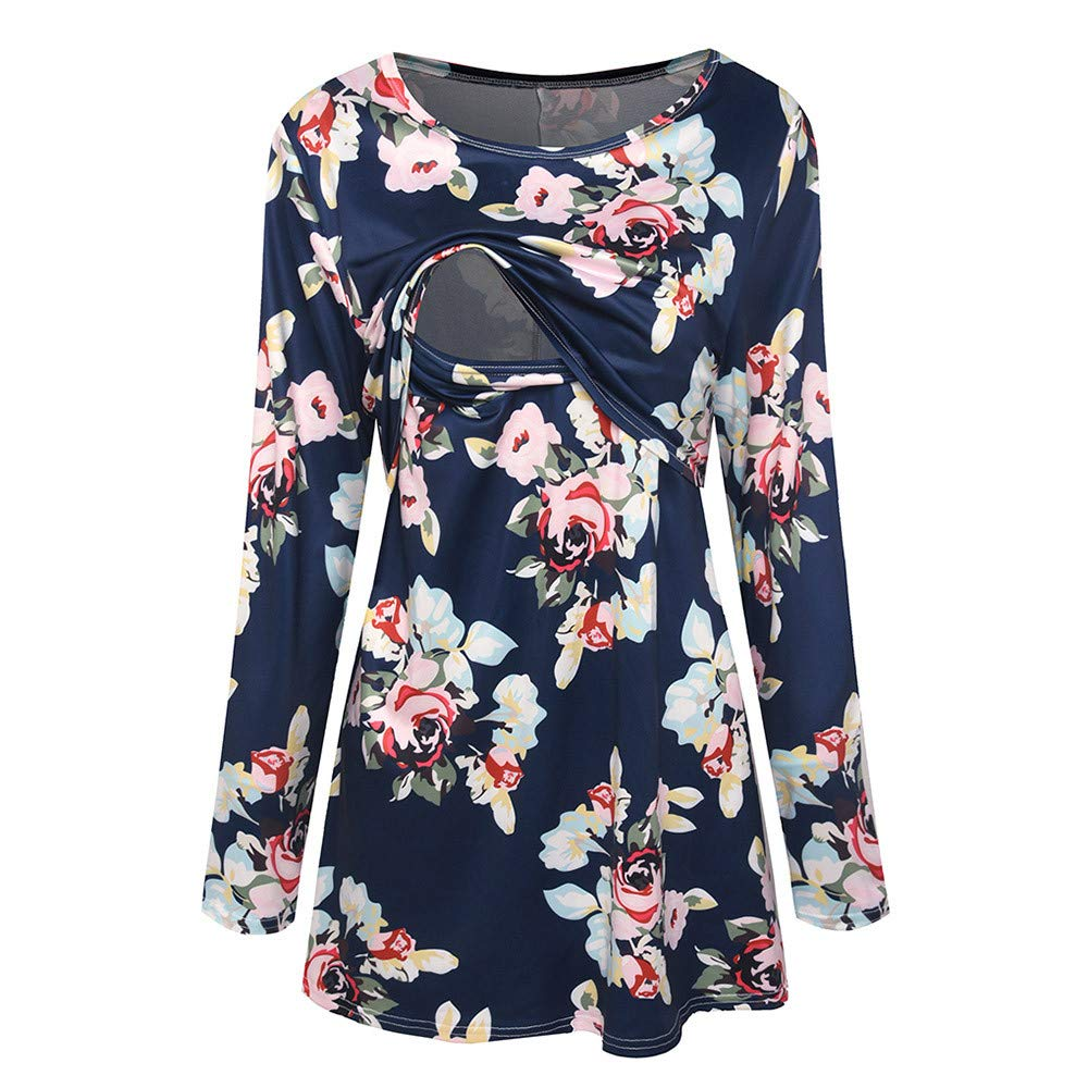GoodLock Clearance!! Women Mom Maternity Nursing Tops Pregnant Wrinkle Long Sleeve Floral Print Tops Clothes (Navy, Large)