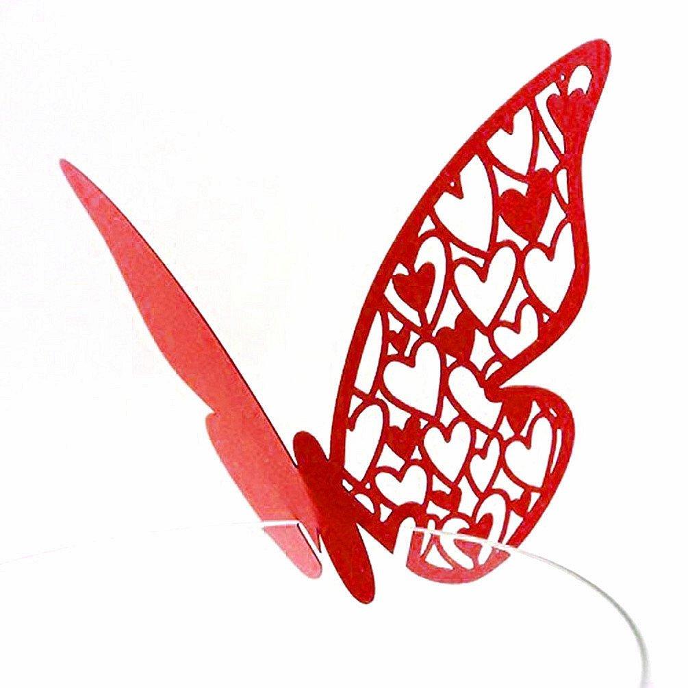 Table 50Mark Verre à vin Motif papillon Nom Place Cartes Décoration Mariage Fête (Rouge) PSG
