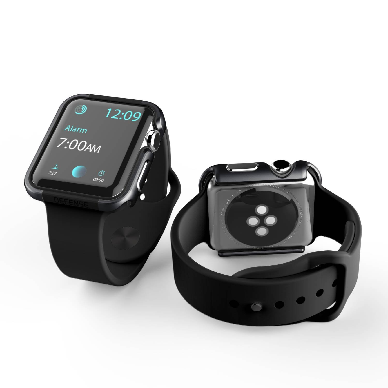 X-Doria 42mm Apple Watch Case (Defense Edge) Premium Aluminum and TPU Bumper Frame (Charcoal) - Compatible with Apple Watch Series 1, Series 2, Series 3 and Nike+ by X-Doria